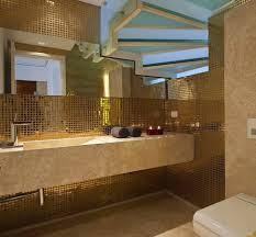 Gold Bathroom Luxury Bathroom With Gold Mosaic Tile Wall And Frosted Glass