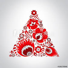 Paper Flower Christmas Tree Lowicz Red Flowers Christmas Tree Cut In Paper Buy This Stock