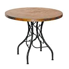 round copper top dining table rustic wrought iron south fork bistro with hand crafted larger photo crate and barrel