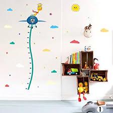 Wallpark Cartoon Giraffe On Airplane Height Sticker Growth Height Chart Measuring Removable Wall Decal Children Kids Baby Home Room Nursery Diy