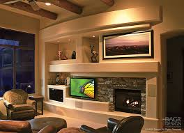 modern gas fireplace with stacked stone accents incorporated into a curved drywall custom a wall designed