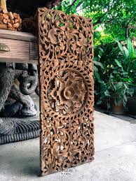 natural carved bed headboard panel wall art sculpture thai teak wood carving oriental home decor 90x33 cm extra thick natural by siamsawadee on etsy  on tiki wood wall art with natural carved bed headboard panel wall art sculpture thai teak