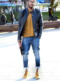 a black leather jacket and blue destroyed skinny jeans are a perfect combination to be utilised