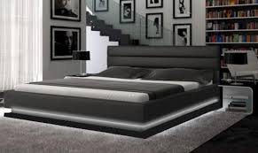 modern platform beds with lights. Contemporary Beds Ladeso SF848 QB SLBROOKLYN Black Modern Queen Platform Bed WLED Lights To Beds With F