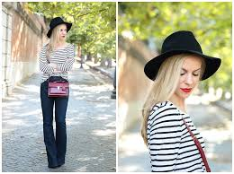 Clinique Matte Crimson lipstick, Brixton Wesley black wool fedora, black  and white striped top with flare jeans and red handbag - Meagan's Moda