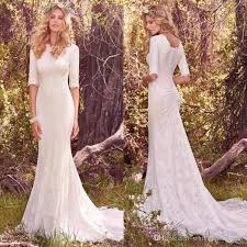 vintage modest wedding dresses with half long sleeves bohemian