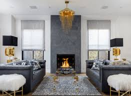 glam living room with fireplace