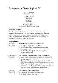 Cover Letter Chronological Resumes Samples Professional