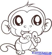 Coloring page of a monkey. Animated Monkey Coloring Pages