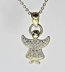 real 14kt gold diamond angel pendant