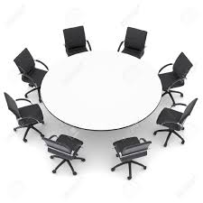 round table corporate office inside chairs and isolated render on a white background designs 8