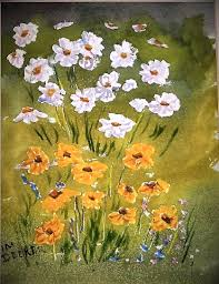 daises flowers originial watercolor small painting wild flowers meadow flowers yellow and white flowers watercolor flower painting