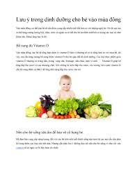 Lưu ý trong dinh dưỡng cho bé vào mùa đông by Laminkid - issuu