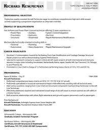 Mechanic Resume Template Aviation Resume Cover Letter Resume Sample