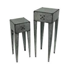 tall side table with drawers galvanized metal tall side table set of 2 with drawer silver tall side table