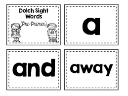 Dolch Sight Words Flash Cards Pre Primer