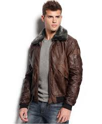 guess faux leather aviator jacket coats jackets men macy s guess faux leather aviator jacket fly high in this classic leather aviator jacket by