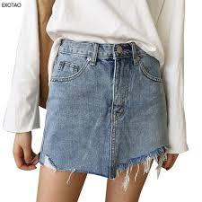 2017 Summer <b>Jeans Skirt Women High</b> Waist Jupe Irregular Edges ...