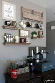 The rack and table that still use the natural wood pattern plus it has less modification on its looks is very beautiful. How To Create A Diy Coffee Station At Home Making Manzanita
