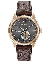 citizen men s automatic grand classic brown leather strap watch 42mm nb4003 01h for men