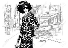 Fashion Girl On A Street Background Sketch Style