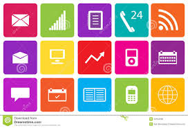 Communication Media Set Of Communication And Media Icons Stock Illustration