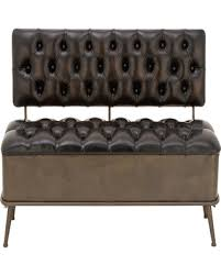 decmode metal and tufted leather storage bench with back tufted leather bench w28