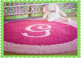roselawnlutheran collection in pink area rug for nursery initial rugs add initial or monogram to custom