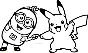pikachu coloring page pages with minion pokemon great free pikachu coloring pages