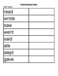 Past Participle Verbs Chart Foldable Esl Vipkid