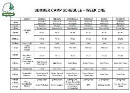 Summer Camp Daily Schedule Template Summer Camp Daily Schedules Schedule Template Day Park District