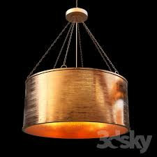 luxe patina metal drum shade pendant