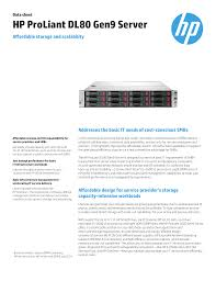 Hp Proliant Dl80 Gen9 Server Data Sheet Manualzz Com