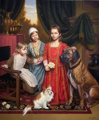 kids painting imaginary 17th century family portrait by motionage designs