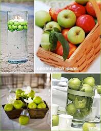 More apple ideas! I like the bottom centerpiece- apples, leaves & ribbon are