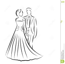 Silhouette Of Bride And Groom Newlyweds Sketch Hand Drawing