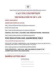 Letter Template Us Fresh Vaccination Exemption Letter Sample 133