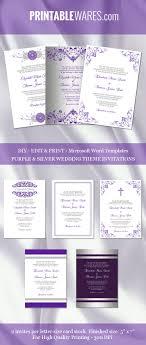 Wedding Invitations Templates Purple Purple Silver Wedding Invitation Templates Word