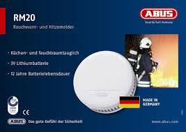 Abus Rauchmelder Rm20 Brandmelder Mit Hitzewarnfunktion Geeignet Für Küche Und Schlafzimmer 12 Jahre Weiß 55047