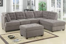 Living Room Furniture Nj F7139 Waffle Suede Reversible Sectional Sofa Charcoal Waffle