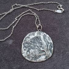 handmade jewellery silver necklace night forest 999 fine silver pendant