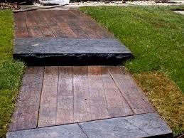 wood plank sidewalk stamped concrete or deck boards with wood plank stamped concrete patio