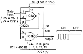 security electronics systems and circuits part 3 nuts volts here two of the gates of a 4001b ic are connected as a gated 800hz astable multivibrator and the ic s two remaining gates are disabled by wiring their