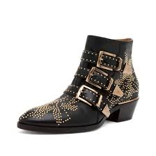 Studded Boots Designer Luxury Designer Leather Studded Ankle Boots For Women Classical Rivets 3 Buckles Chunky Heels Women Boots Fashion Punk Shoes