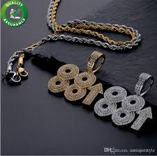 whole iced out chains pendant luxury designer necklace hip hop jewelry mens gold bling diamond 88rising rich chigga rapper charms micro paved cz diamond