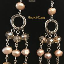 mauve pink dyed fresh water pearls champagne crystal beads stain