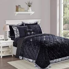 luxury 3 piece black velvet bedding set