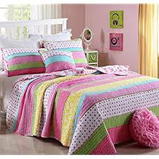 Amazon.com: MarCielo 2 Piece Kids Bedspread Quilts Set Throw ... & Best Comforter Set 2 Pieces Bedding Set Pink Dot Striped Floral Bedspreads  Quilts Set for Girls Adamdwight.com