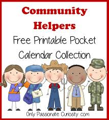 Community Helpers Chart Community Helpers Pocket Chart Calender Cards July