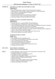 Electrical Intern Resume Samples Velvet Jobs